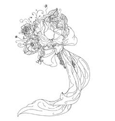 hand drawn wild roses set vector image