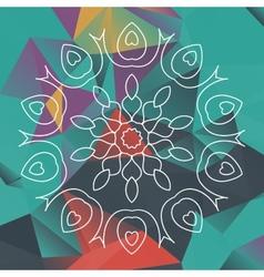 Mandala like design over triangles background vector image