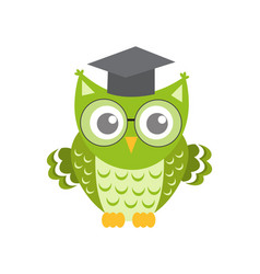 owl in glasses with square academic cap icon flat vector image vector image