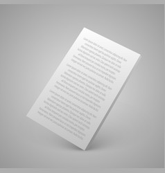 sheet of paper with text 3d vector image vector image