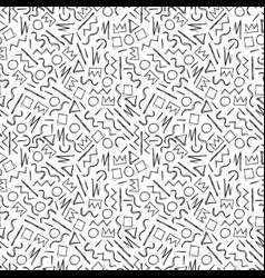 sketch handdrawn seamless pattern memphis style vector image
