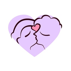 Two faces kissing vector image
