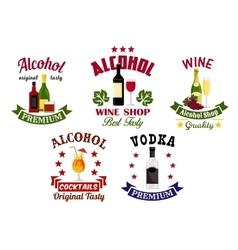 Alcohol drinks cocktail bar emblems set vector image vector image