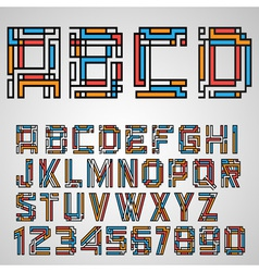 Alphabet letters and numbers in Mayan style vector image vector image