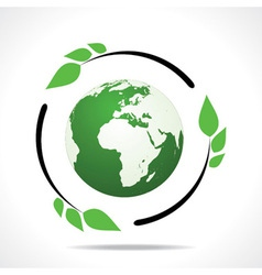 Eco friendly earth with green leaf design vector image vector image