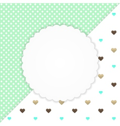 Green greeting card with hearts vector image vector image