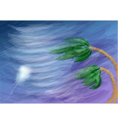 hurricane and palm vector image