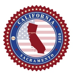 Label sticker cards of state california usa vector