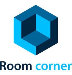 3d isometric room corner blue symbol vector image