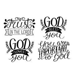 4 hand lettering god bless you god loves you vector