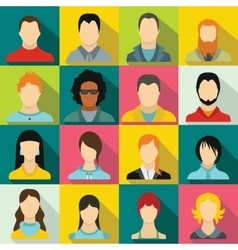 Avatars set icons vector image vector image
