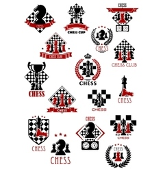Chess sport game icons emblems and symbols vector image