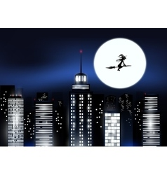 City and Halloween night vector image