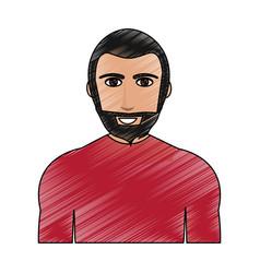 color pencil cartoon half body man with muscular vector image vector image