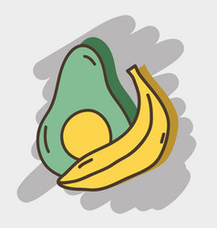 Delicious avocado and banana organ fruits vector