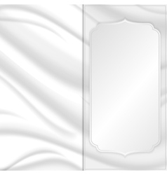 Elegant silk texture with silver square tag vector image