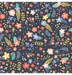 Hand drawn flower seamless pattern vector image