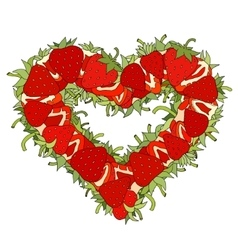 Heart made of Strawberries vector image vector image