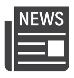 News solid icon newspaper and website vector