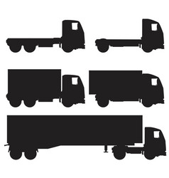 set of black and white silhouette icons of trucks vector image