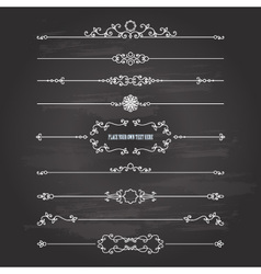 Vintage dividers set on chalkboard vector image