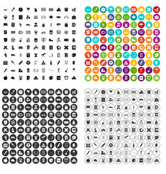 100 junior school icons set variant vector