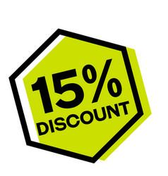 15 percent discount stamp on white vector image