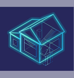 3d rendering smart house blueprint schema vector