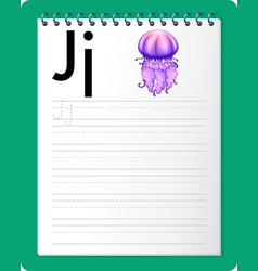 alphabet tracing worksheet with letter j and j vector image