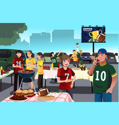 american football fans having a tailgate party vector image