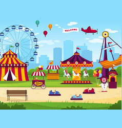 amusement park attractions entertainment joyful vector image