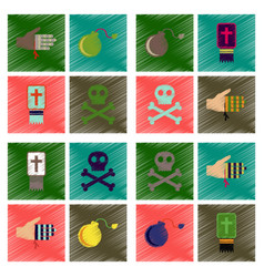 Assembly flat shading style icons halloween vector