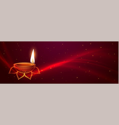 Awesome happy diwali festival banner with glowing vector