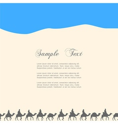 Background with silhouettes of camels vector image