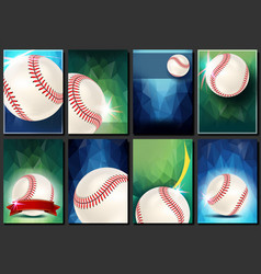 Baseball poster set empty template for vector
