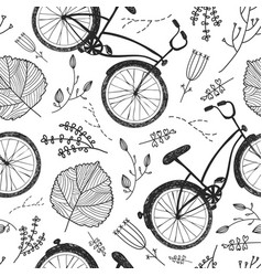 Bicycles florals and leaves hand drawn vector