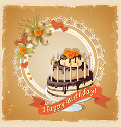 birthday card with cake tier ribbon and roses vector image