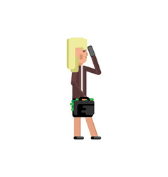 blonde woman with suitcase talking on phone vector image