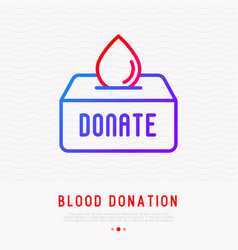 blood donation blood drop falling in donation box vector image