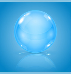 Blue glass ball 3d shiny sphere on blue vector