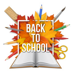book back to school frame leaves vector image