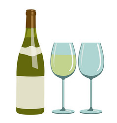 bottle of white wine and wine glasses vector image