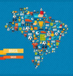 brazil soccer map of sport game icons vector image