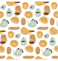 breakfast seamless pattern with cappuccino cups vector image