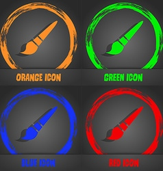 brush icon Fashionable modern style In the orange vector image