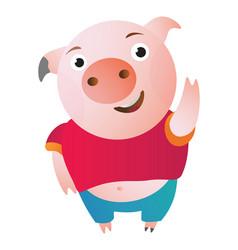 cartoon pig says hi waving and shy vector image