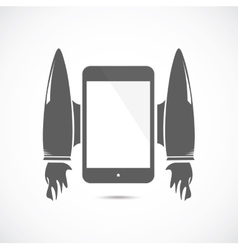 Cartoon rocket with mobile phone vector image