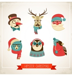 Christmas background with hipster animals vector image vector image
