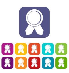 Circle badge wih ribbons icons set vector