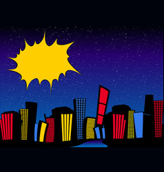 Comics style cityscape night and copy space vector
